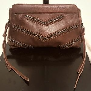 Linea Pelle Chevron Chain Brown Leather Clutch